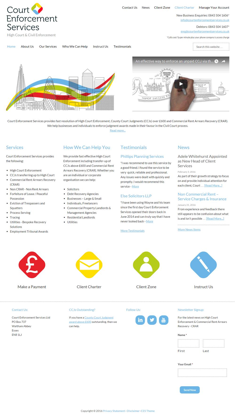 Web design for Court Enforcement Services, Waltham Abbey, Essex