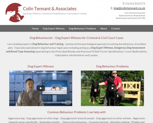 Web Design for Colin Tennant dog behaviourist