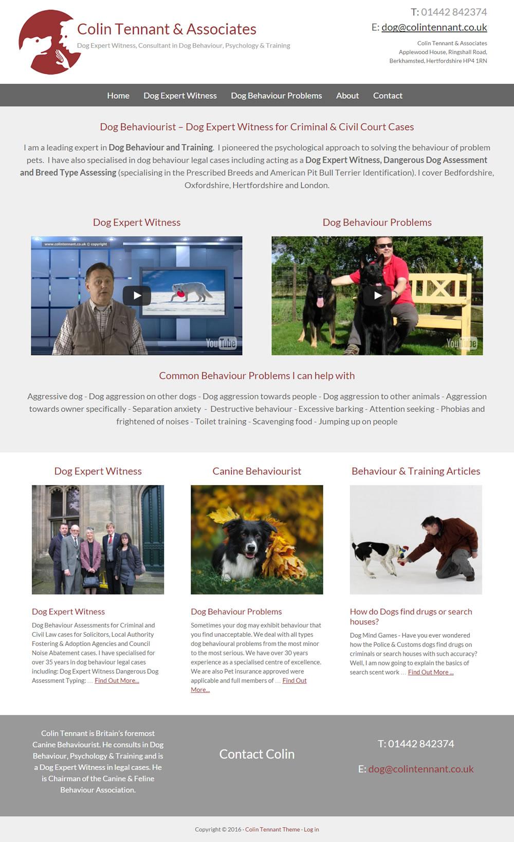Web Design for Colin Tennant dog behaviourist