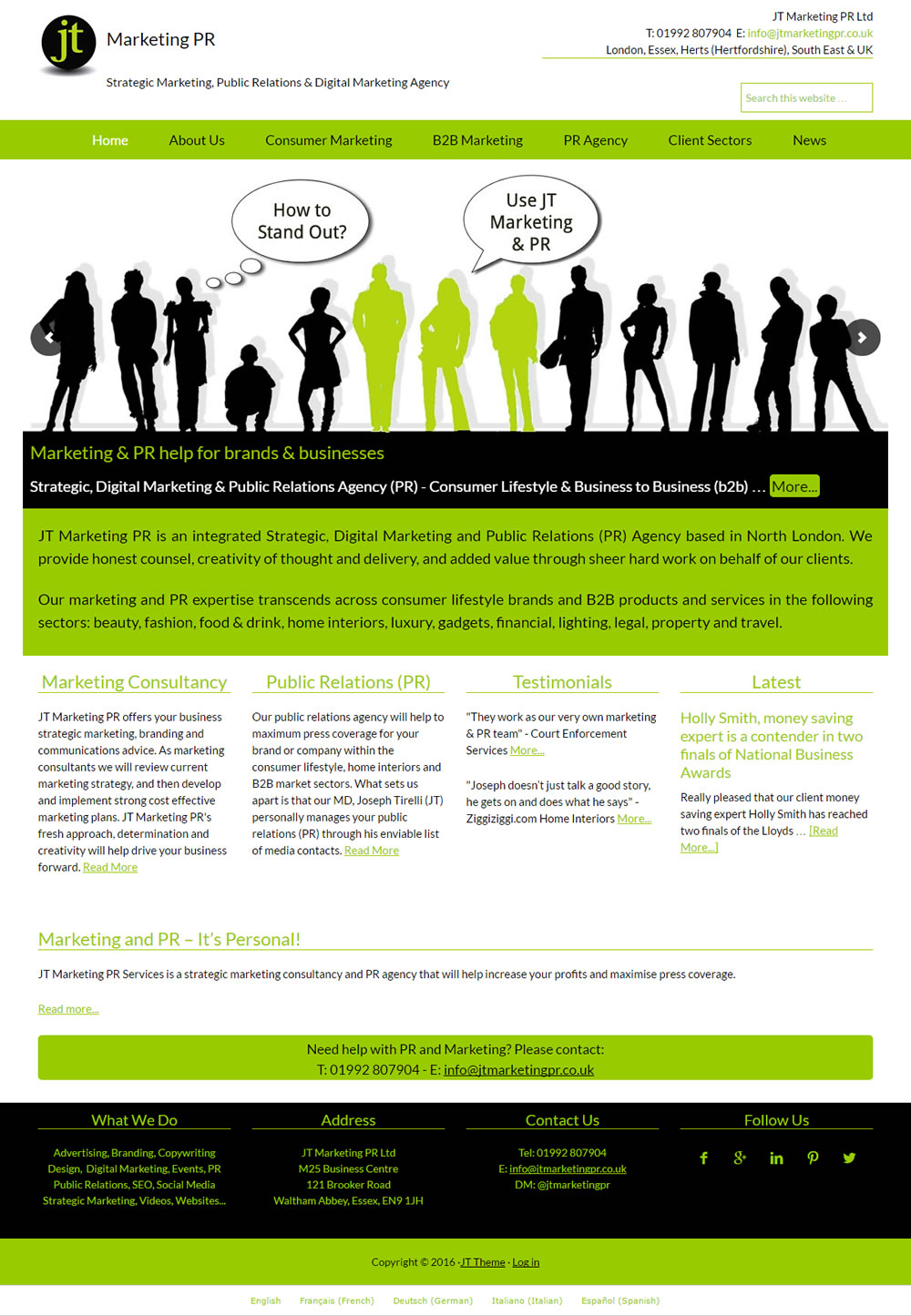 Wordpress web design for JT Marketing PR, Essex
